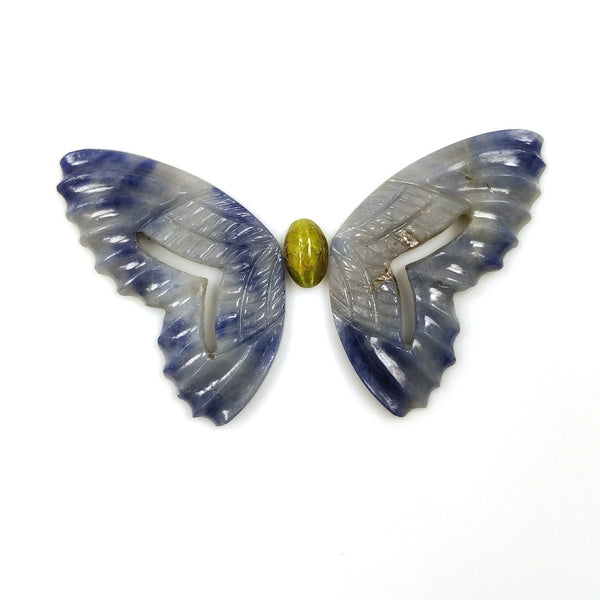 BLUE SAPPHIRE Cat's Eye Gemstone Carving : 51.95cts Natural Untreated Sapphire Gemstone Hand Carved BUTTERFLY 39*18mm 3pcs Set For Jewelry