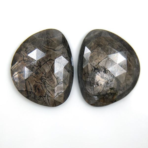 Golden Brown CHOCOLATE SAPPHIRE Gemstone Cut : 47.00cts Natural Untreated Sapphire Gemstone Uneven Shape Rose Cut 25.5*20mm Pair For Earring