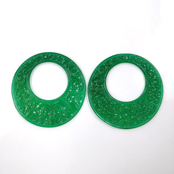 GREEN ONYX Gemstone Carving  : 96.50cts Natural Color Enhanced ONYX Gemstone Hand Carved Round Shape 59mm Pair For Jewelry
