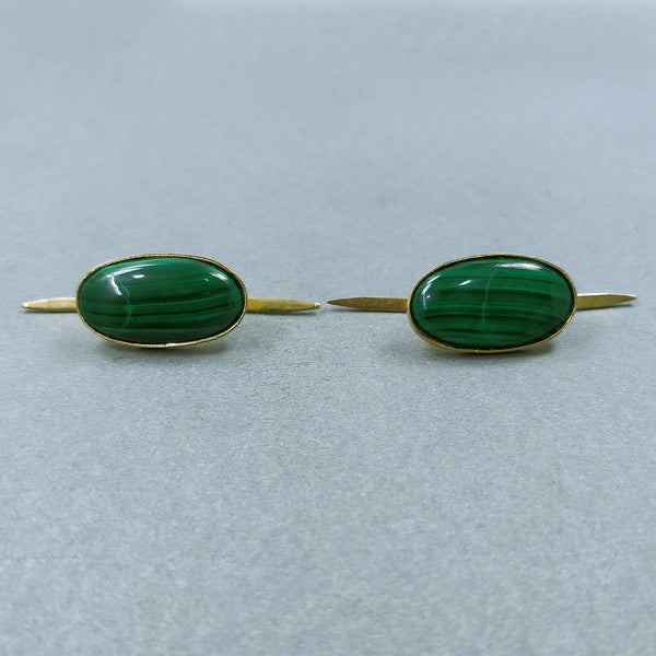 GREEN MALACHITE Gemstone PIN : 9.60gms Natural Untreated Malachite Gemstone Oval Cabochon Brass Gold Plated Lapel Pins 25*13.5mm*5(h) Pair
