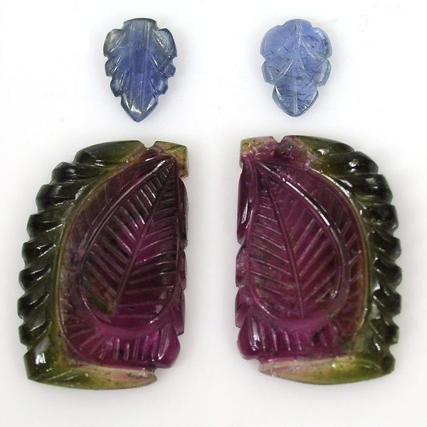 Watermelon TOURMALINE Gemstone CARVING : 29.00ct Natural Untreated Tourmaline, Blue Sapphire Gemstone Fancy Hand Carved 7*9mm-15*23m Earring
