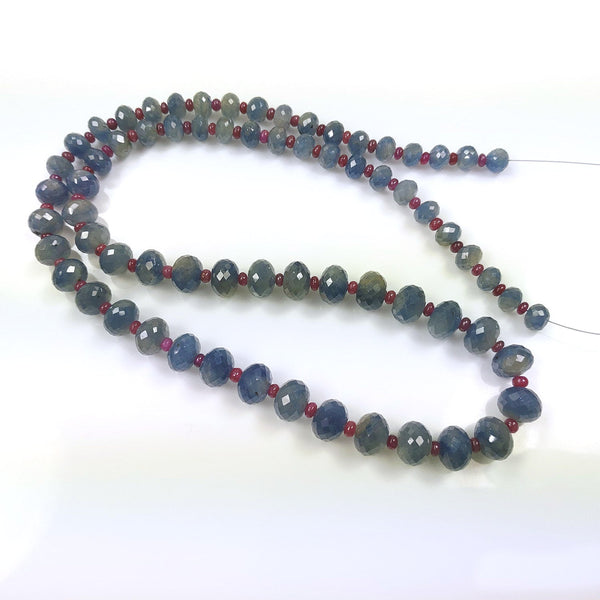 "BLUE SAPPHIRE RUBY Gemstones Loose Beads : 368cts Natural Untreated Sapphire Gemstone Round Faceted Checker Cut Rondelle 22"" Loose Beads"