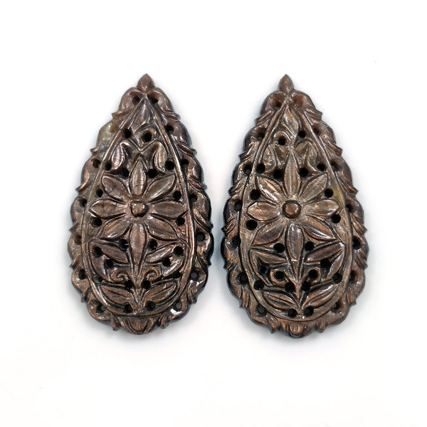 GOLDEN BROWN Chocolate SAPPHIRE Gemstone Carving : 64.50cts Natural Untreated Sapphire Hand Carved Pear Shape 37*21mm Pair For Jewelry
