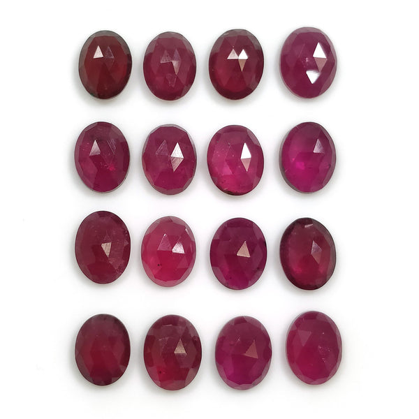 RED RUBY Gemstone Slices : 38.00cts Natural Ruby Gemstone Oval Shape Rose Cut Slices 9*7mm 16pcs Lot For Jewelry