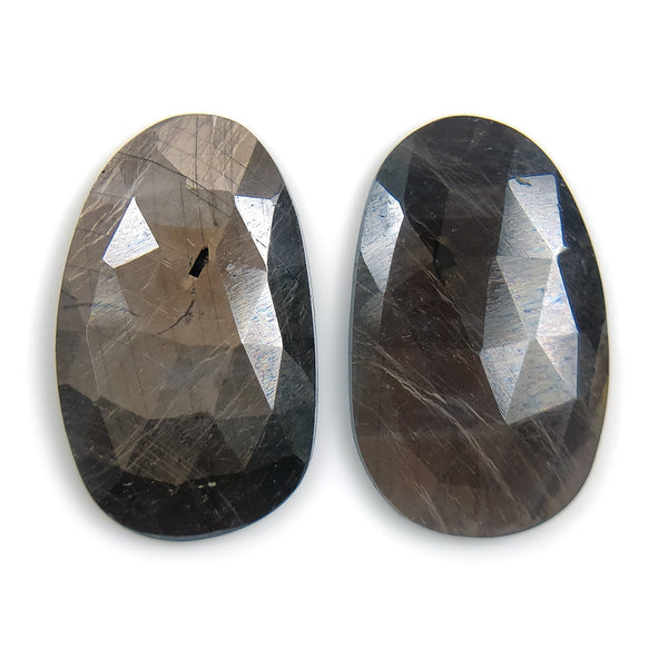 Golden Brown CHOCOLATE SAPPHIRE Gemstone Cut : 17.50cts Natural Untreated Sapphire Gemstone Uneven Rose Cut 20.5*12.5mm Pair For Earring