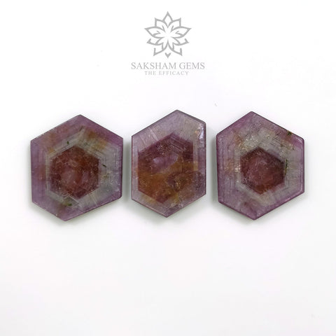 Rosemary Sheen PINK SAPPHIRE Gemstone TRAPICHE : 67.00cts Natural Untreated Sapphire Hexagon Flat Slice 22*23mm - 23.5*16mm 3pcs For Jewelry
