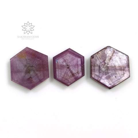 Rosemary Sheen PINK SAPPHIRE Gemstone TRAPICHE : 35.00cts Natural Sapphire Hexagon Shape Flat Slice 15*13mm - 17*15mm 3pcs Set For Jewelry