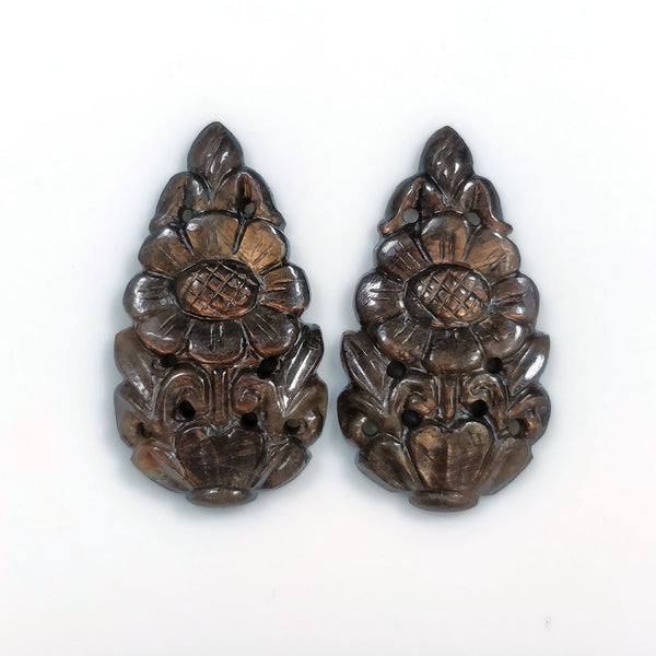 GOLDEN BROWN Chocolate SAPPHIRE Gemstone Carving : 26.50cts Natural Untreated Sapphire Hand Carved Pear Shape 26.5*15mm Pair For Earring