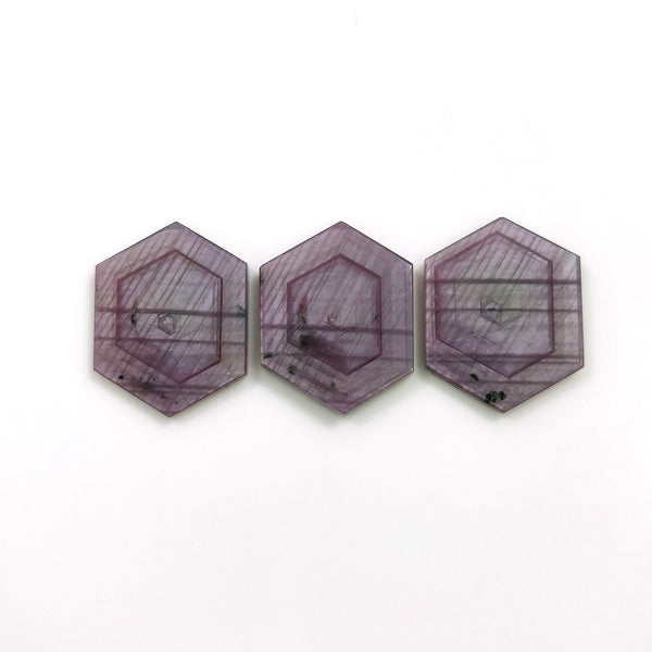 Rosemary Sheen PINK SAPPHIRE Gemstone Slices : 49.00cts Natural Untreated Sapphire Hexagon Shape Flat Slice 23*18mm 3pcs Set For Jewelry