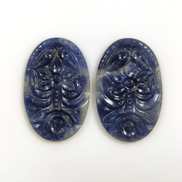 BLUE SAPPHIRE Gemstone Carving : 42.00cts Natural Untreated Unheated Sapphire Gemstone Hand Carved Oval Shape 18*28mm Pair For Earring