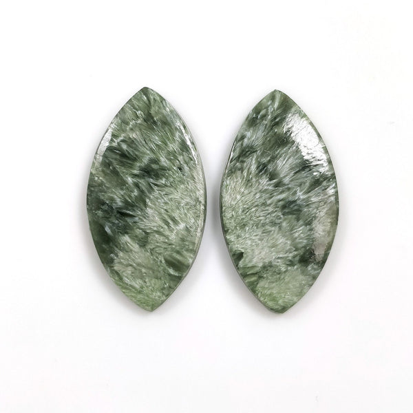 GREEN SERAPHINITE Gemstone Flats : 30.00cts Natural Untreated Seraphinite Gemstone Marquise Shape Cabochon Flat Bottom Slice 32*17mm Pair