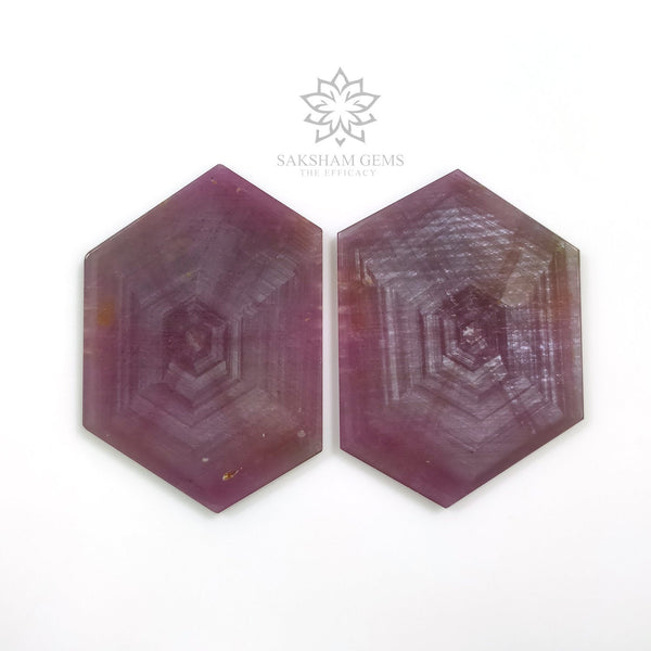 Rosemary Sheen PINK SAPPHIRE Gemstone TRAPICHE : 96.00cts Natural Untreated Sapphire Hexagon Flat Slice 41.5*30mm - 43*29mm 2pcs For Jewelry