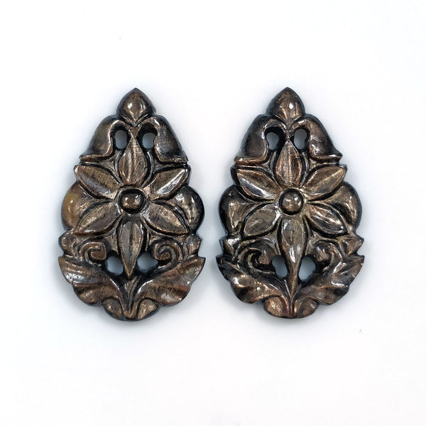GOLDEN BROWN Chocolate SAPPHIRE Gemstone Carving : 28.50cts Natural Untreated Sapphire Hand Carved Pear Shape 27*17mm Pair For Earring