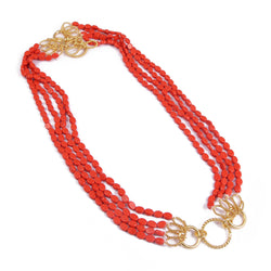 Red Orange Coral Gemstone Oval Flat Beads Necklace with Designer T Clasp Toggle Clasp, Designer Clasp can be used as a Pendant 24