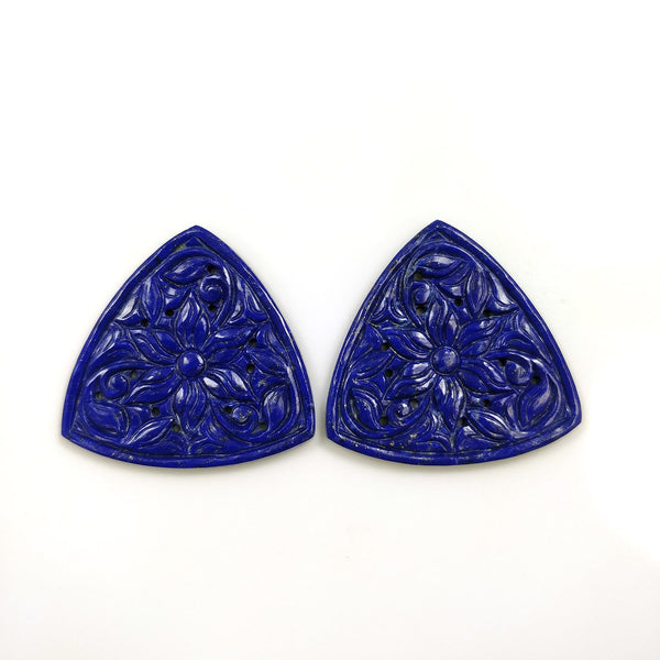 LAPIS LAZULI Gemstone Carving : 77.00cts Natural Untreated Unheated Blue Lapis Gemstone Hand Carved Trillion Shape 37mm Pair For Jewelry