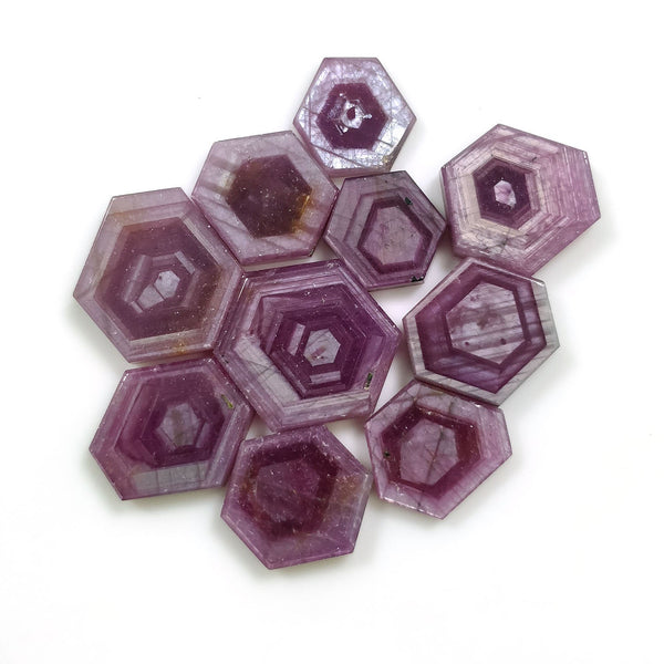 Rosemary Sheen PINK SAPPHIRE Gemstone Slices : 85.50cts Natural Untreated Sapphire Hexagon Flat Slice 13*10mm - 18*15mm 10pcs For Jewelry