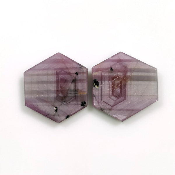 Rosemary Sheen PINK SAPPHIRE Gemstone Slices : 20.19cts Natural Untreated Sapphire Hexagon Shape Flat Slice 16.5*15mm Pair For Jewelry