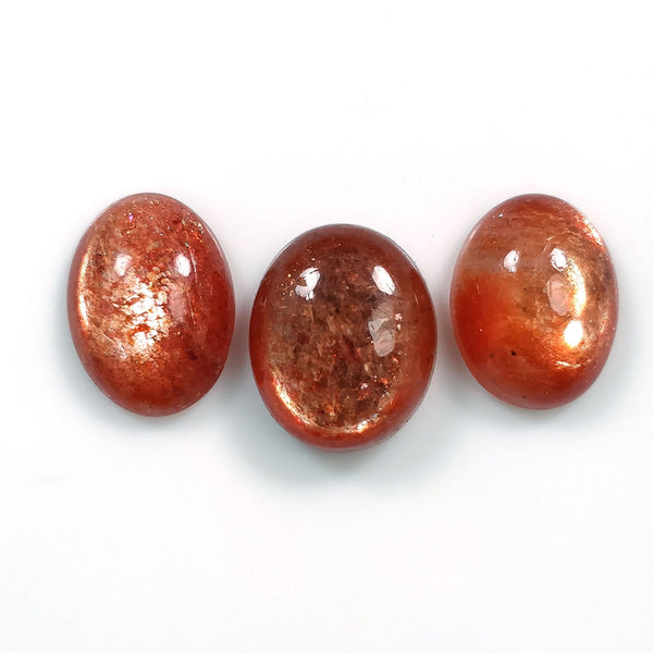 Chatoyant ORANGE SUNSTONE Gemstone : 13.30cts Natural Untreated Sunstone Gemstone Oval Shape Cabochon 12*10mm - 13*11mm 3pcs Set For Jewelry