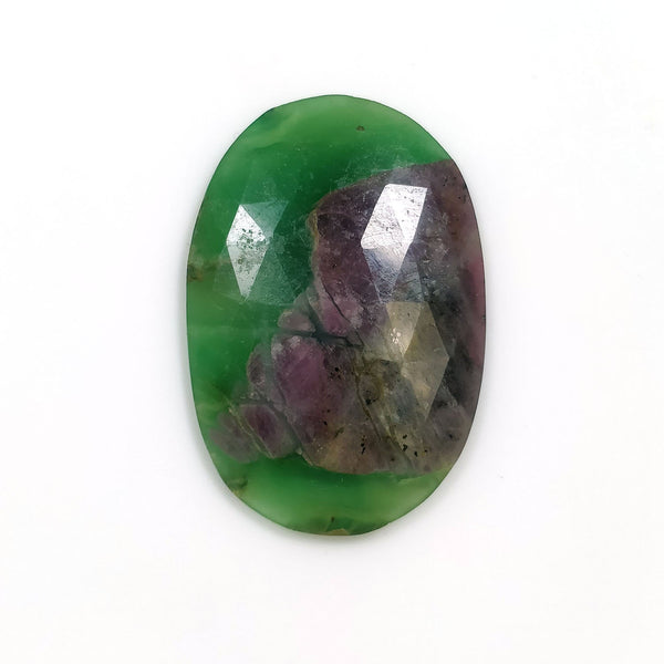 ZOISITE RUBY Gemstone Slice : 34.00cts Natural Untreated Unheated Ruby Gemstone Oval Shape Rose Cut Slice 36*25mm 1pc For Pendant