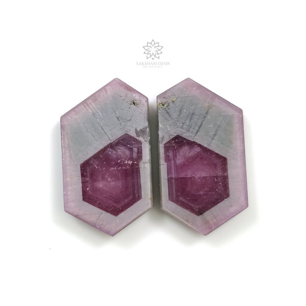 Rosemary Sheen PINK SAPPHIRE Gemstone Slices : 43.65ct Natural Untreated Sapphire Gemstone Hexagon Shape Flat Slice 26*14mm Pair For Jewelry