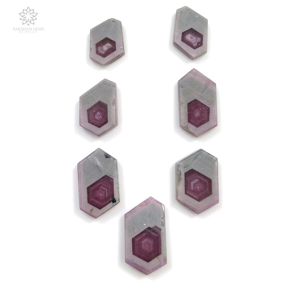Rosemary Sheen PINK SAPPHIRE Gemstone Slices : 102.05ct Natural Untreated Sapphire Hexagon Flat Slice 16*12mm - 25*14mm 7pcs Set For Jewelry