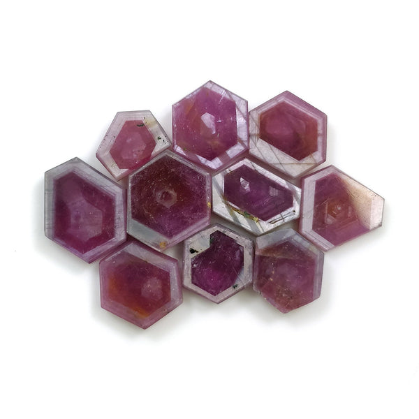 Rosemary Sheen PINK SAPPHIRE Gemstone Slices: 50.50cts Natural Untreated Sapphire Hexagon Flat Slice 9.5*7.5mm-13.5*11.3mm 10pcs For Jewelry