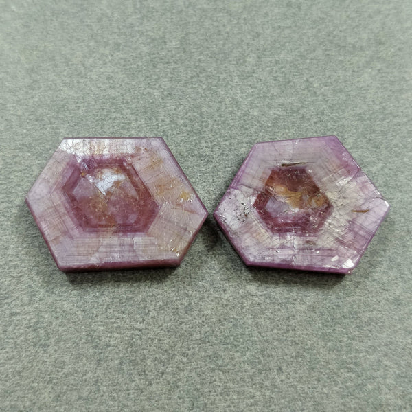 Rosemary Sheen PINK SAPPHIRE Gemstone TRAPICHE : 42.50cts Natural Untreated Sapphire Hexagon Flat Slices 22*18mmm - 23*17mm 2pcs For Jewelry