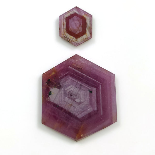 Rosemary Sheen PINK SAPPHIRE Gemstone Slices : 50.50cts Natural Untreated Sapphire Hexagon Flat Slices 15*12mm - 33*27mm 2pcs For Jewelry