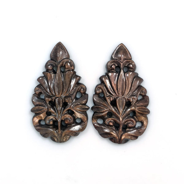 GOLDEN BROWN Chocolate SAPPHIRE Gemstone Carving : 37.00cts Natural Untreated Sapphire Hand Carved Pear Shape 32*19mm Pair For Earring