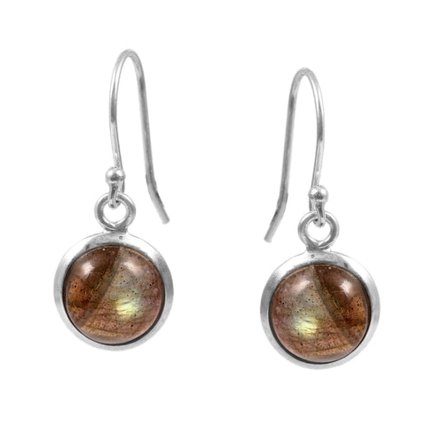 Natural Labradorite Gemstone Earring 925 Sterling Silver Cabochon Gemstone Dangle Hook Earring Boho Handmade Small Women Fashion Jewelry