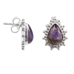jewels house Purple Amethyst Round Cut Gemstone Silver Plated Handmade Drop Dangle Hemmer Earrings