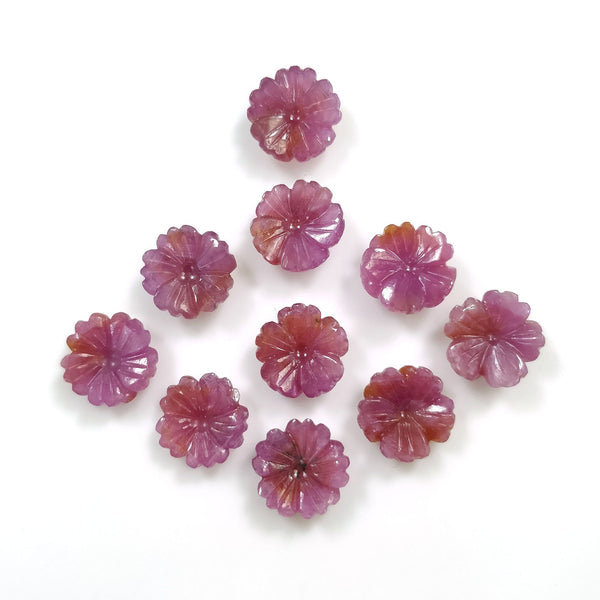 PINK SAPPHIRE Gemstone Carving: 54.30ct Natural Untreated Sapphire Gemstone Hand Carved FLOWER Round Shape 12mm*4(h)mm 10pcs Set For Jewelry