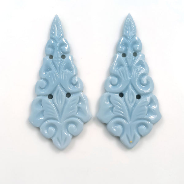 BLUE OPAL Gemstone Carving : 23.50cts Natural Color Enhanced Opal Gemstone Hand Carved Uneven Shape 43.5*20.5mm Pair For Earring