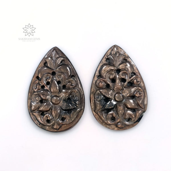 GOLDEN BROWN Chocolate SAPPHIRE Gemstone Carving : 15.66cts Natural Untreated Sapphire Gemstone Hand Carved Pear 28*18mm Pair For Earring