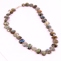 Natural Labradorite Faceted Rondelle Shape Gemstone With Silver Balls Necklace Beautiful Natural Gemstone Necklace Boho Necklace Size 22