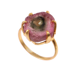 925 Sterling Silver Pink Green Watermelon Tourmaline Slice Ring Natural Tourmaline October Birthstone Ring Handmade Boho Gold Prong Set Ring