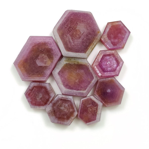 Rosemary Sheen PINK SAPPHIRE Gemstone Slices : 76.00cts Natural Untreated Sapphire Hexagon Flat Slice 10*8mm - 20*17mm 9pcs Lot For Jewelry