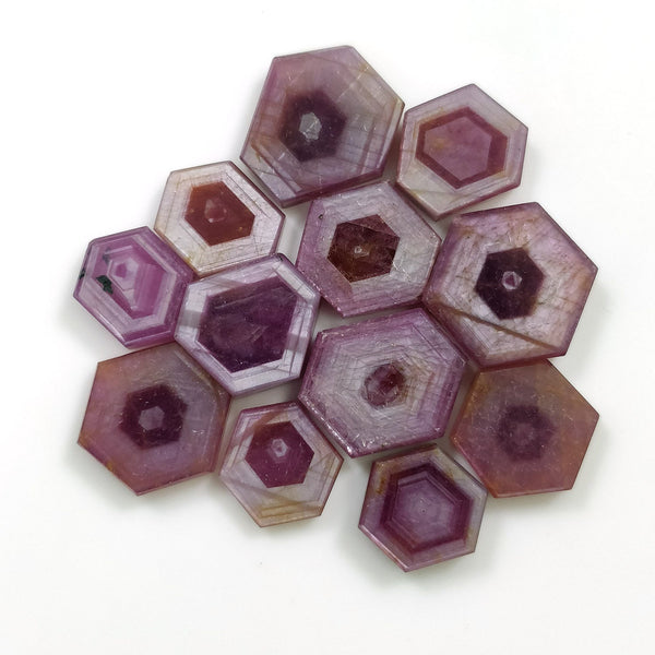 Rosemary Sheen PINK SAPPHIRE Gemstone Slices : 86.50cts Natural Untreated Sapphire Hexagon Flat Slices 12*10mm - 16*13mm 12pcs For Jewelry