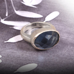 925 Stamped Solid Sterling Silver Faceted Oval Crystal Petrol Blue Glass Rhinestone Bezel Set Man Women Unisex Ring Jewelry Size 7 US