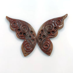 BOTSWANA AGATE Gemstone BUTTERFLY : 41.50cts Natural Untreated Agate Gemstone Hand Carved Butterfly Carving 43*18mm Pair For Earring