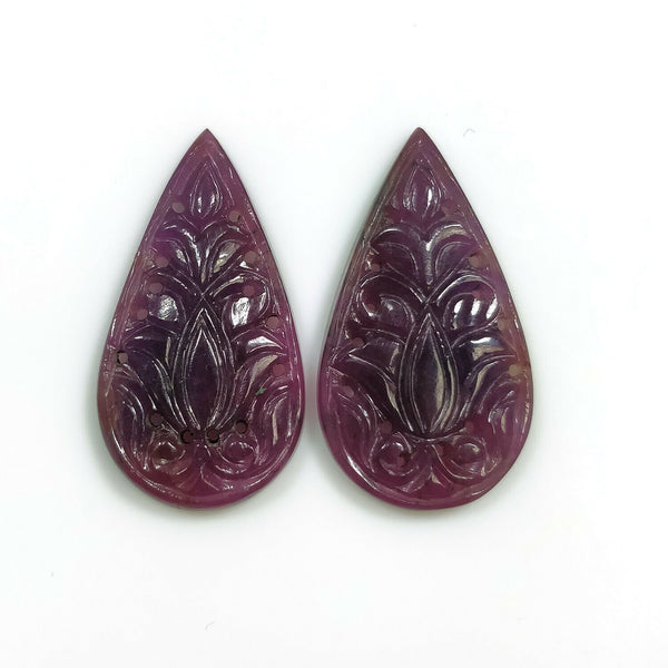 PURPLE SAPPHIRE Gemstone CARVING : 27.00cts Natural Untreated Unheated Sapphire Gemstone Hand Carved Pear Shape 30*16.5mm Pair For Earring
