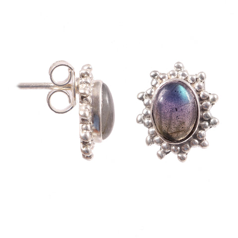 Natural Labradorite Oval Shape 925 Sterling Silver Handmade Stud Earrings Gypsy Stud Boho Women Fashion Jewelry Beautiful Stud Earrings