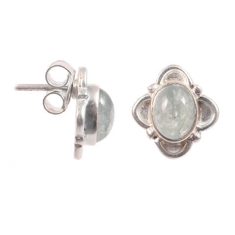 Natural Aquamarine Gemstone Stud Earrings 925 Sterling Silver Aquamarine Stud Handmade Boho Women Fashion Jewelry Beautiful Stud Earrings