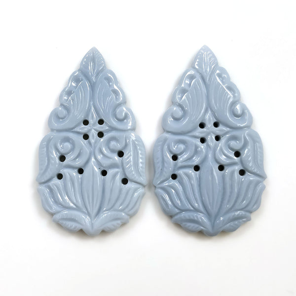 BLUE OPAL Gemstone Carving : 49.00cts Natural Color Enhanced Opal Gemstone Hand Carved Pear Shape 44*25.5mm Pair For Earring