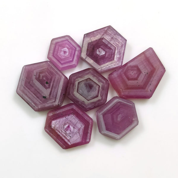 Rosemary Sheen PINK SAPPHIRE Gemstone Slices : 50.50ct Natural Untreated Sapphire Hexagon Flat Slice 10.5*9.5mm - 16*13.5mm 7pcs For Jewelry