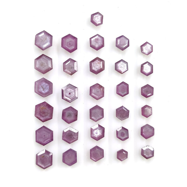 Raspberry Sheen PINK SAPPHIRE Gemstone Cut September Birthstone : 37.10cts Natural Untreated Sapphire Hexagon Shape Normal Cut 6*5mm - 9*7mm 31pcs For Jewelry