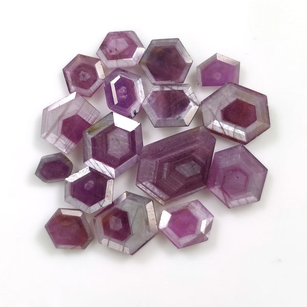 Raspberry Sheen PINK SAPPHIRE Gemstone Cut September Birthstone : 39.45cts Natural Untreated Sapphire Hexagon Normal Cut 6.5*5.5mm - 15*10.5mm 16pcs For Jewelry