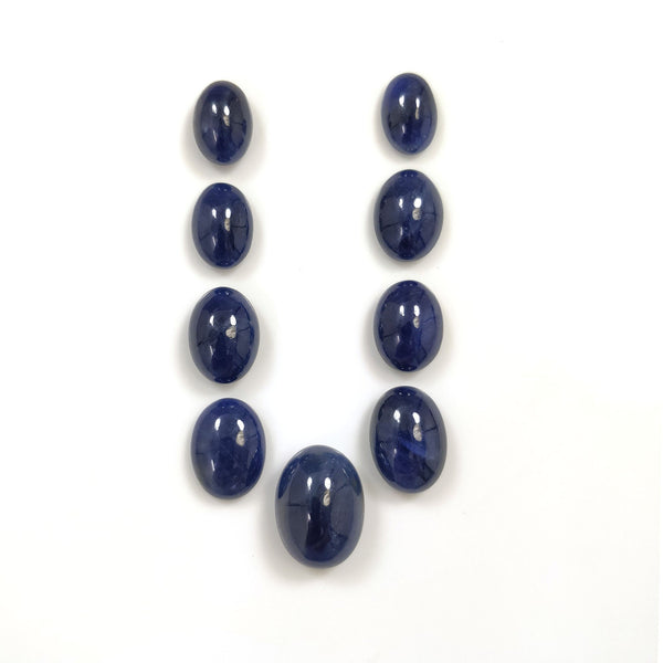 BLUE SAPPHIRE Gemstone Cabochon : 107.50cts Natural Untreated Sapphire Gemstone Oval Shape Cabochon 13*9.5mm - 19*14mm 9pcs Lot For Jewelry