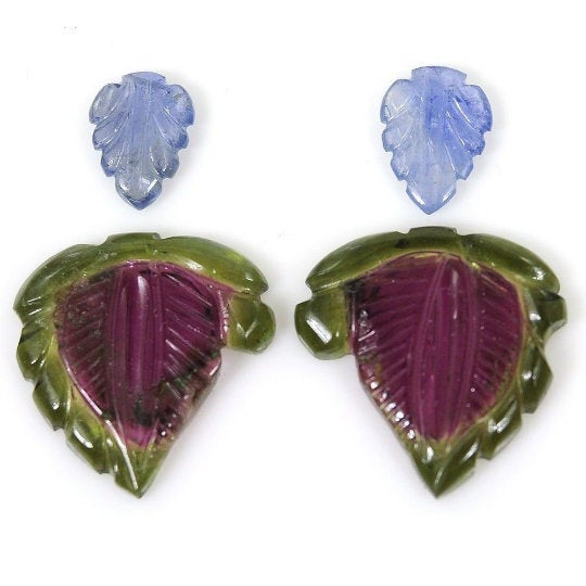 Watermelon TOURMALINE Gemstone CARVING : 21.15cts Natural Untreated Tourmaline, Blue Sapphire Gemstone Fancy Hand Carved 7*10mm-19m Earring