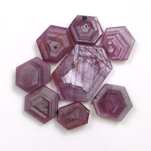 Rosemary Sheen PINK SAPPHIRE Gemstone Slices : 91.15cts Natural Untreated Sapphire Hexagon Flat Slice 14.5*10mm - 29.5*20mm 8pcs For Jewelry